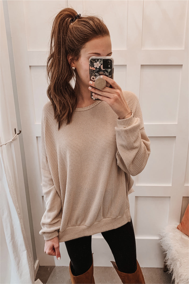 Long Sleeve Waffle Knit Sweater- Oatmeal