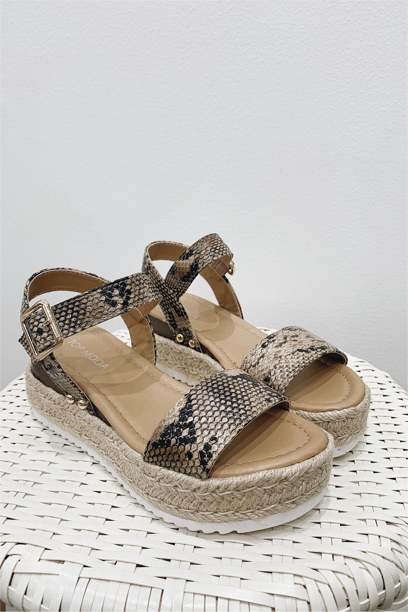 Reade Platform Espadrille Sandals - Python - BluePeppermint Boutique