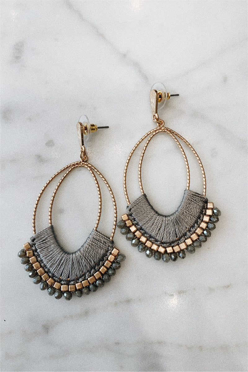 Thread and Bead Statement Earrings - Grey