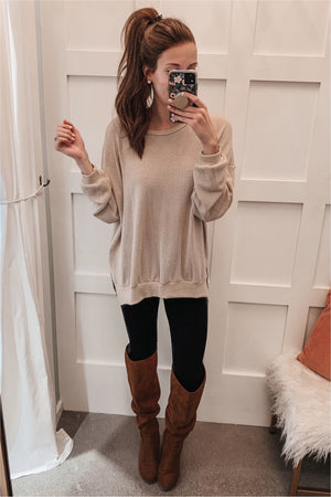 Long Sleeve Waffle Knit Sweater- Oatmeal - BluePeppermint Boutique