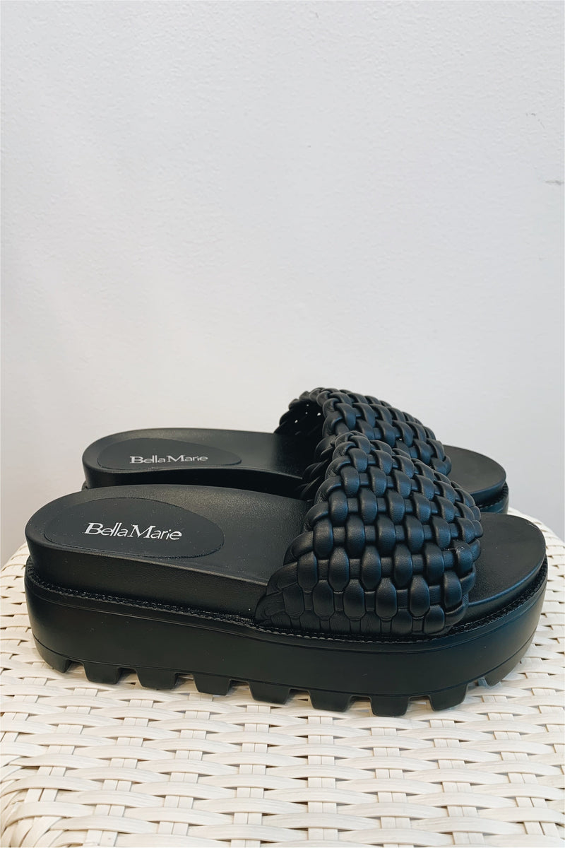Braided Single Strap Platform Sandal-Black