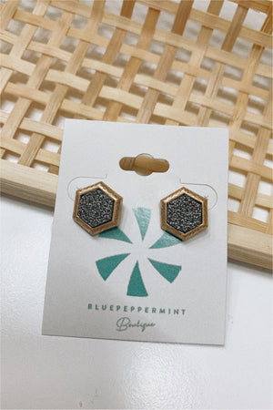 Hexagon Druzy Post Earrings