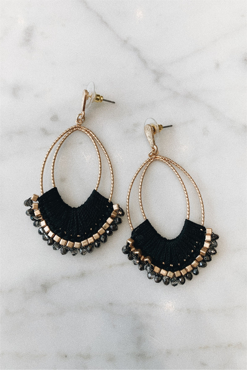 Thread and Bead Statement Earrings - Black