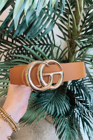 Classic Faux Leather Belt-Cognac - BluePeppermint Boutique