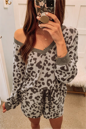Grey Brushed Leopard Boxy Top