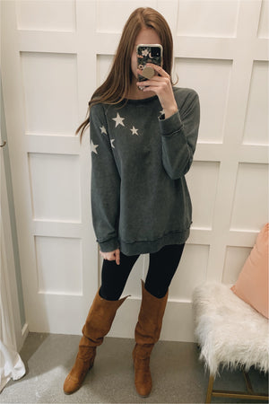 Smokey Star Printed Terry Knit Sweatshirt - BluePeppermint Boutique