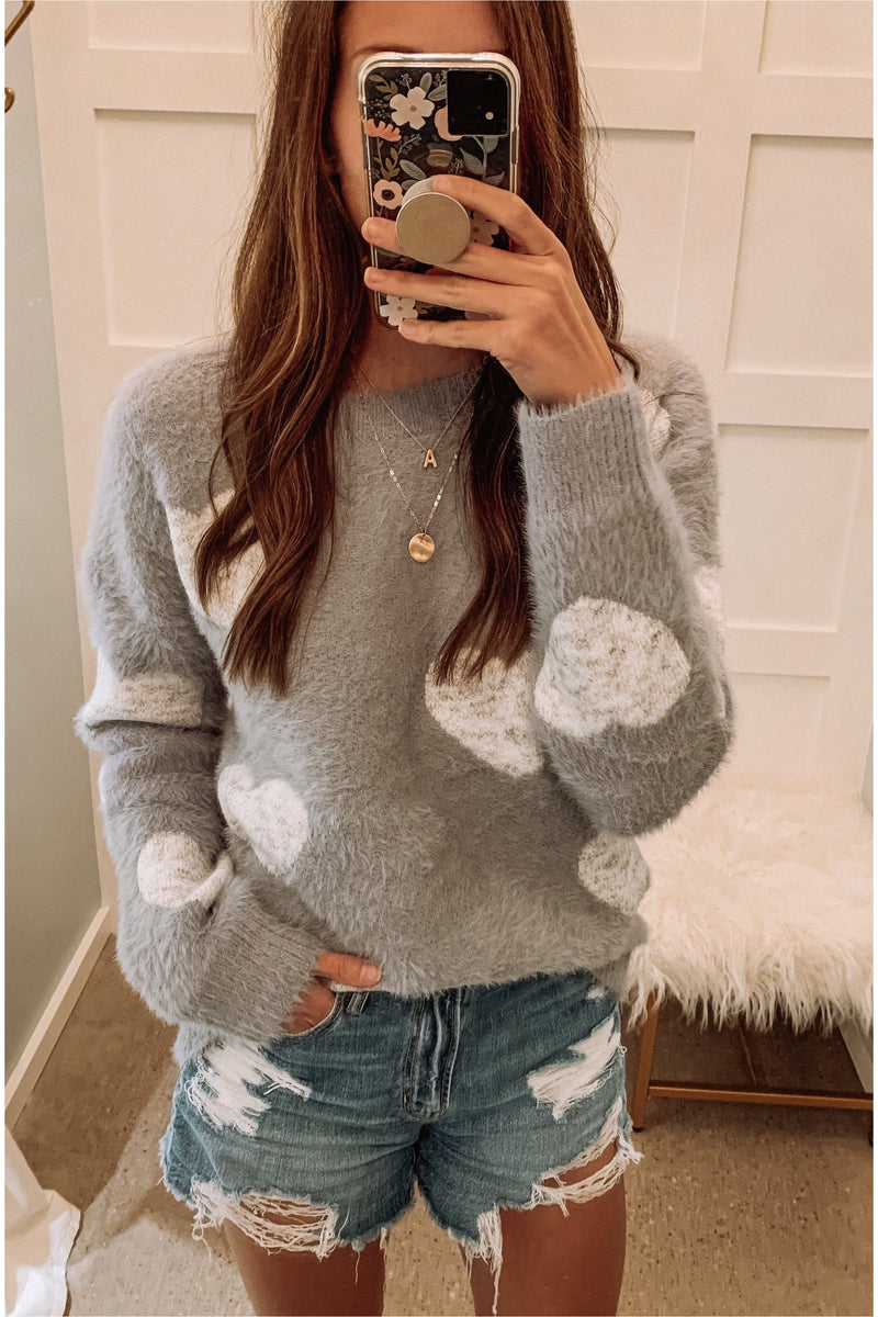 Light Blue Fuzzy Heart Sweater - BluePeppermint Boutique