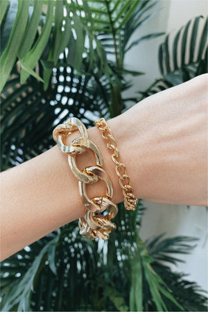 Gold Chunky Chain Duo Bracelet Set - BluePeppermint Boutique