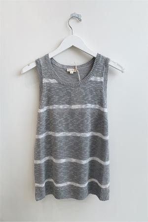Grey/Ivory Striped Knit Tank - BluePeppermint Boutique