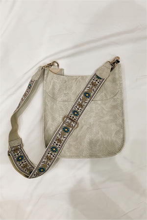 Ah-Dorned Cream Faux Snake Messenger with Aztec Strap