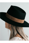 Gigi Pip Miller Fedora - Black with Brown Band - BluePeppermint Boutique