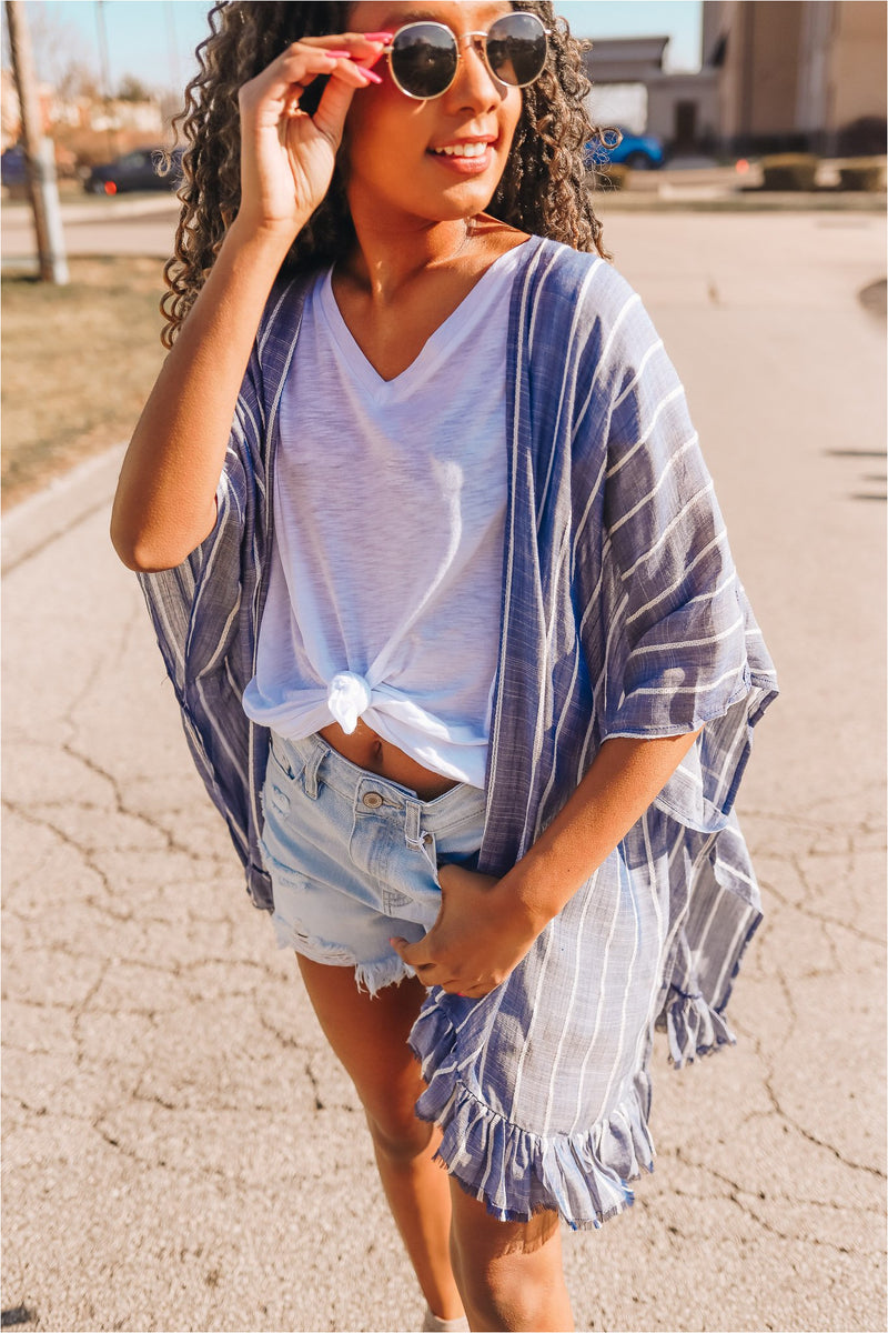 Blue Raw Edge Striped Kimono