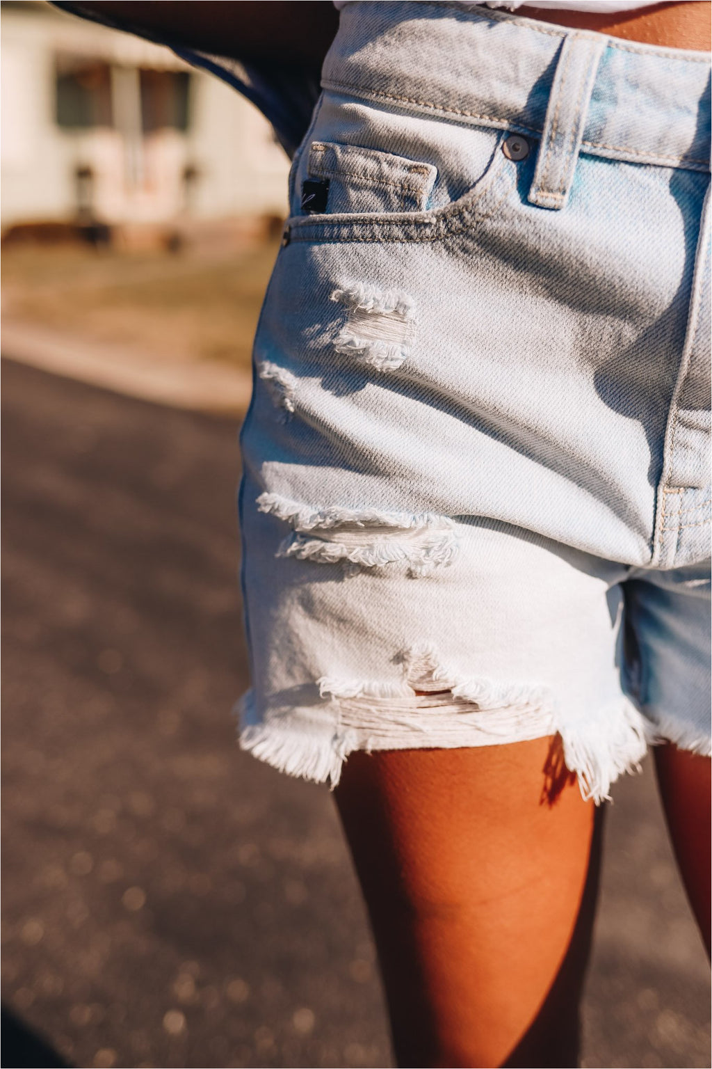 Hurricane Light Wash High Rise Denim Shorts - BluePeppermint Boutique