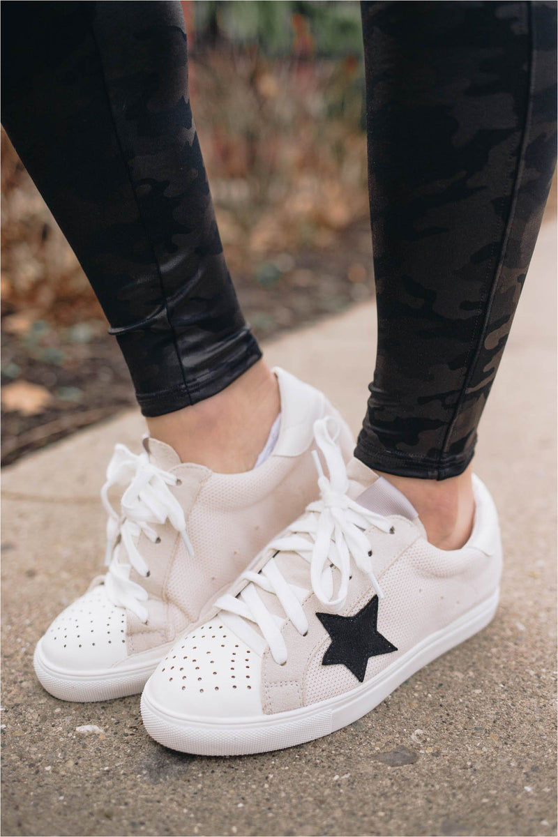 Oatmeal Star Sneaker - BluePeppermint Boutique