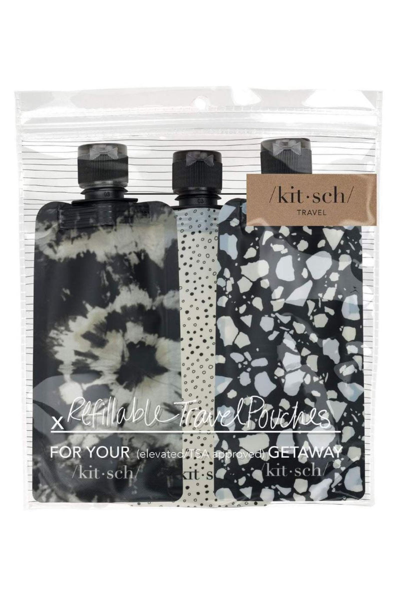 Kitsch Refillable Travel Pouches-Black & Ivory - BluePeppermint Boutique
