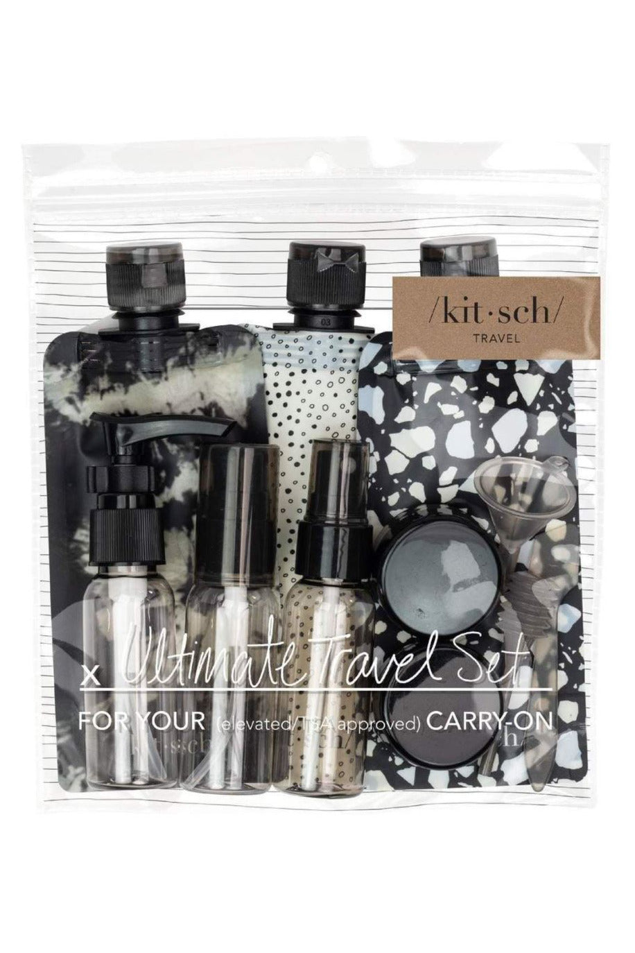 Kitsch Refillable Travel Set- Black & Ivory - BluePeppermint Boutique