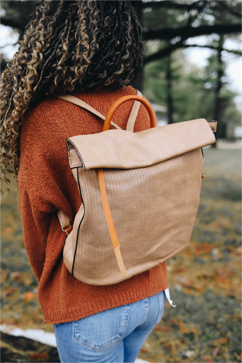 Textured Roll Flap Backpack