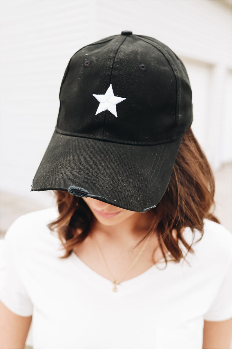 Haute Shore Boardwalk Baseball Cap-Black/White Star - BluePeppermint Boutique