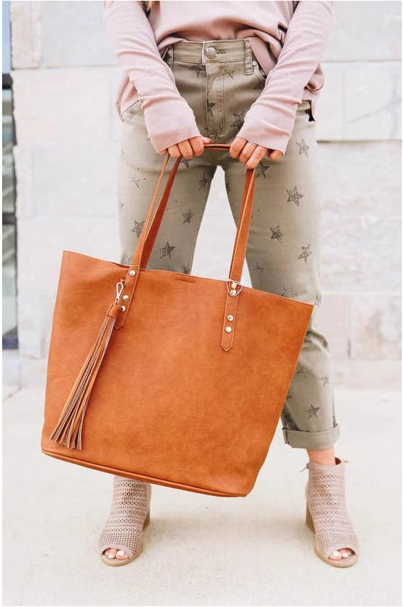 Tan 2-in-1 Tassel Tote-bluepeppermint-boutique