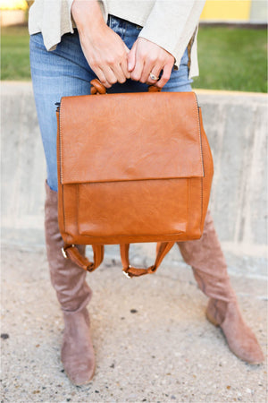 Structured Flap Top Backpack - BluePeppermint Boutique