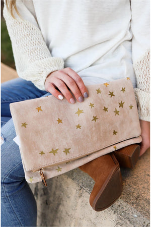 Beige Star Clutch - BluePeppermint Boutique