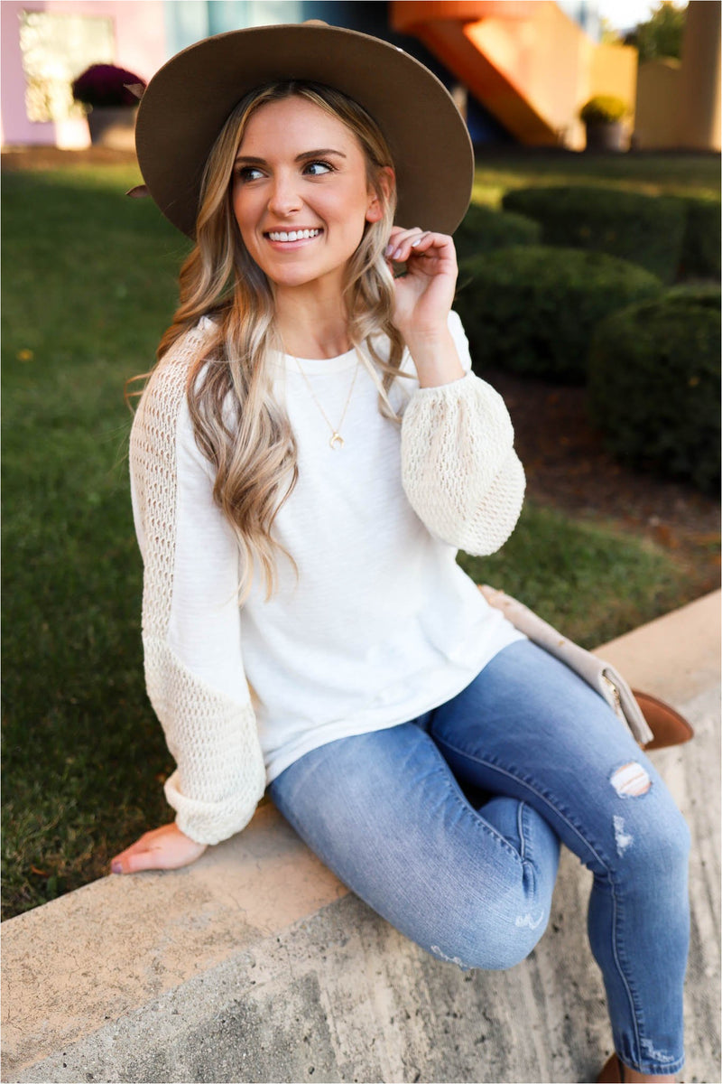 Cream Knit Sleeve Top - BluePeppermint Boutique