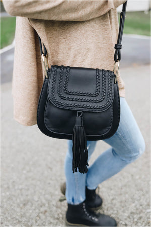 Black Braided Saddle Bag - BluePeppermint Boutique