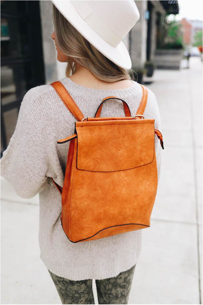 Cognac Faux Leather Backpack-bluepeppermint-boutique