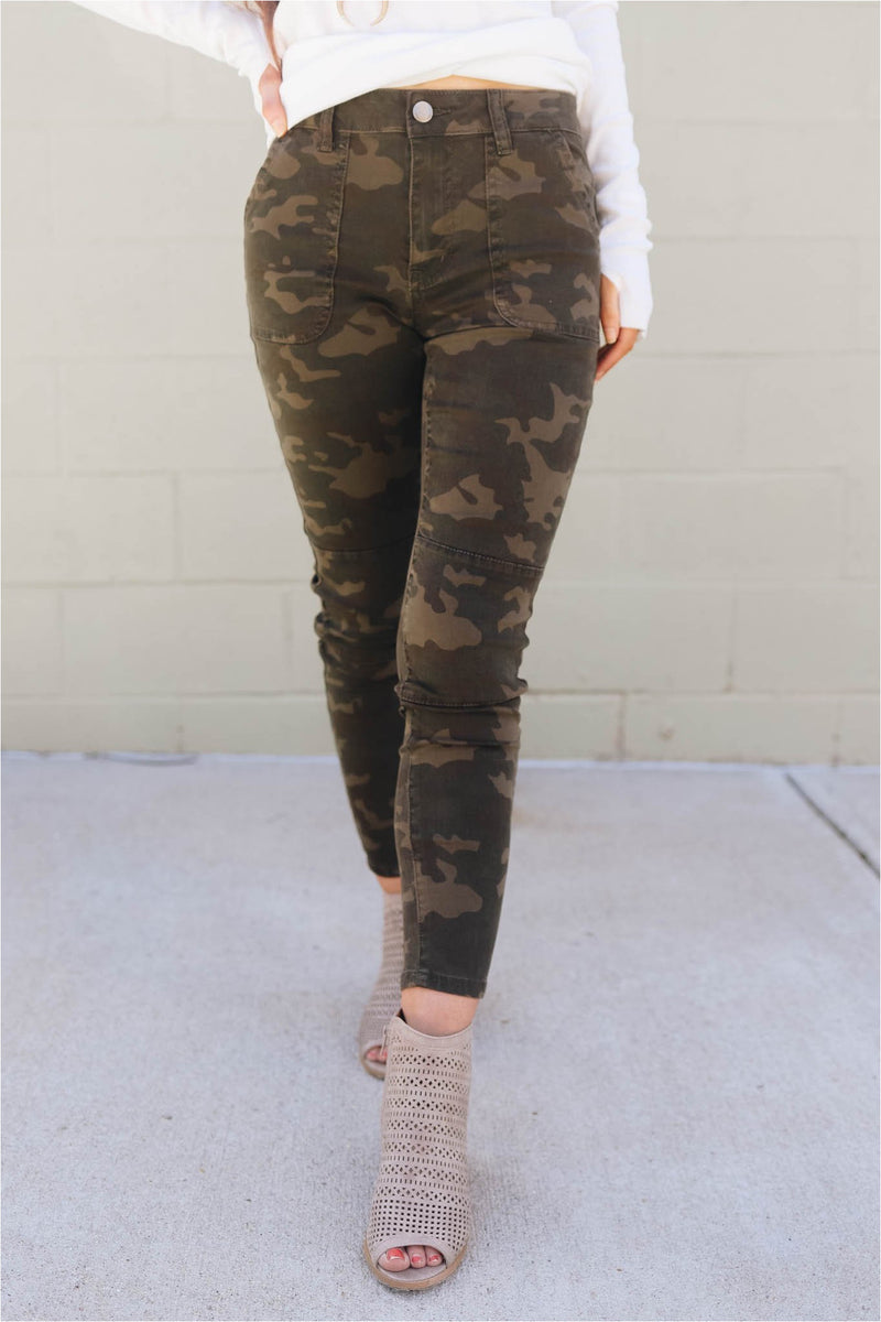 Moto Stretch Twill Pants - Dark Camo-bluepeppermint-boutique