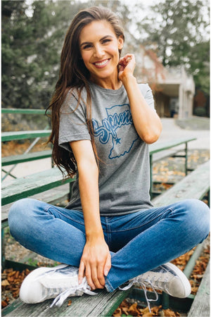 Indiana State University Logo Tee-bluepeppermint-boutique