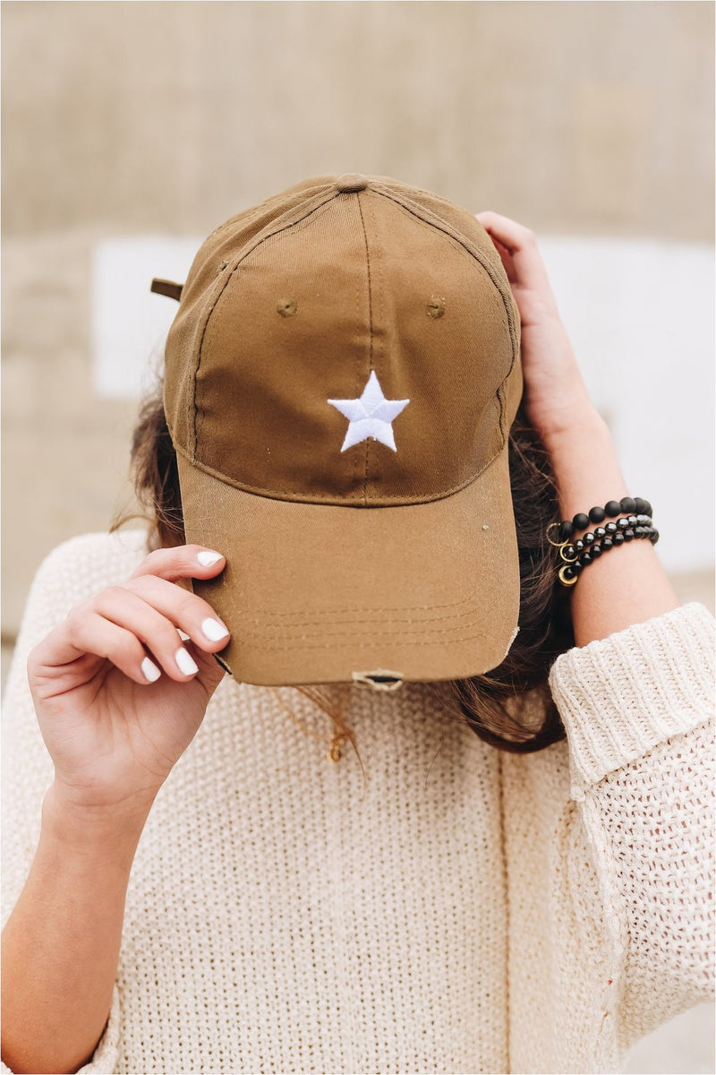 Olive Hat White Star