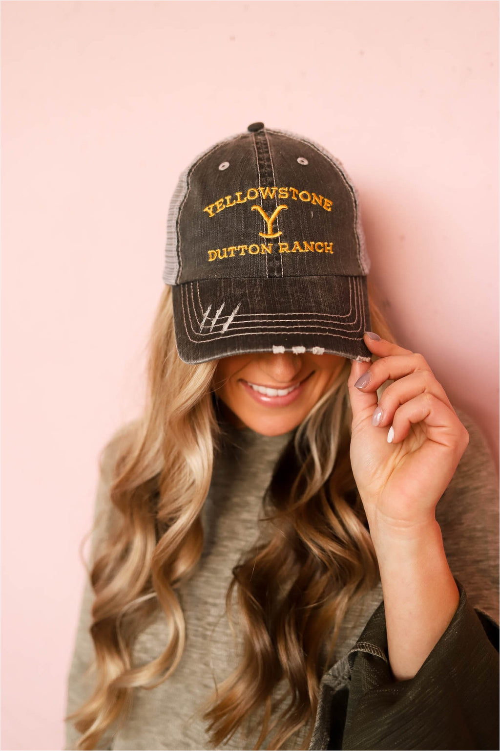 Yellowstone Dutton Ranch Trucker Hat - Grey - BluePeppermint Boutique