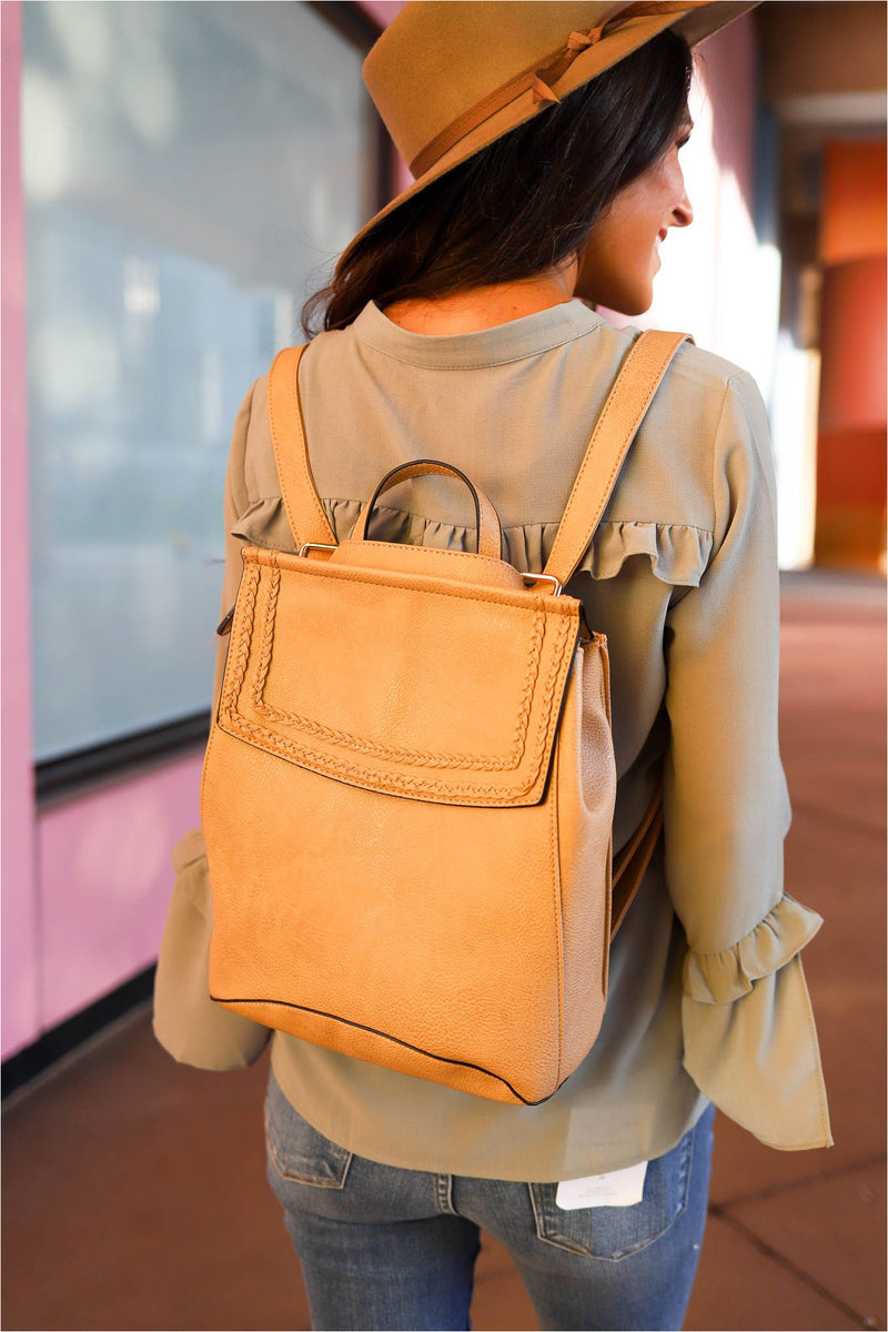 Taupe Braided Flap Backpack - BluePeppermint Boutique