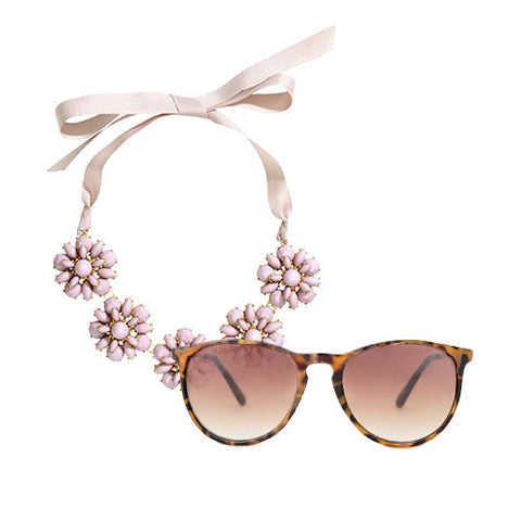 Flower necklace and Brown Sunglasses Set