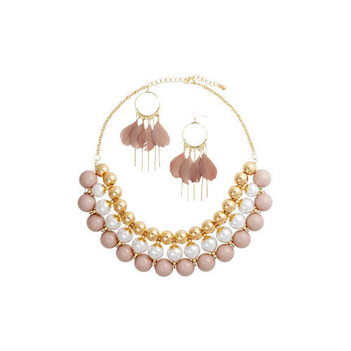 Short Pearl Necklace and Earrings