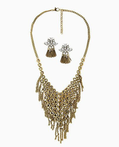 Gold Necklace and Earrings