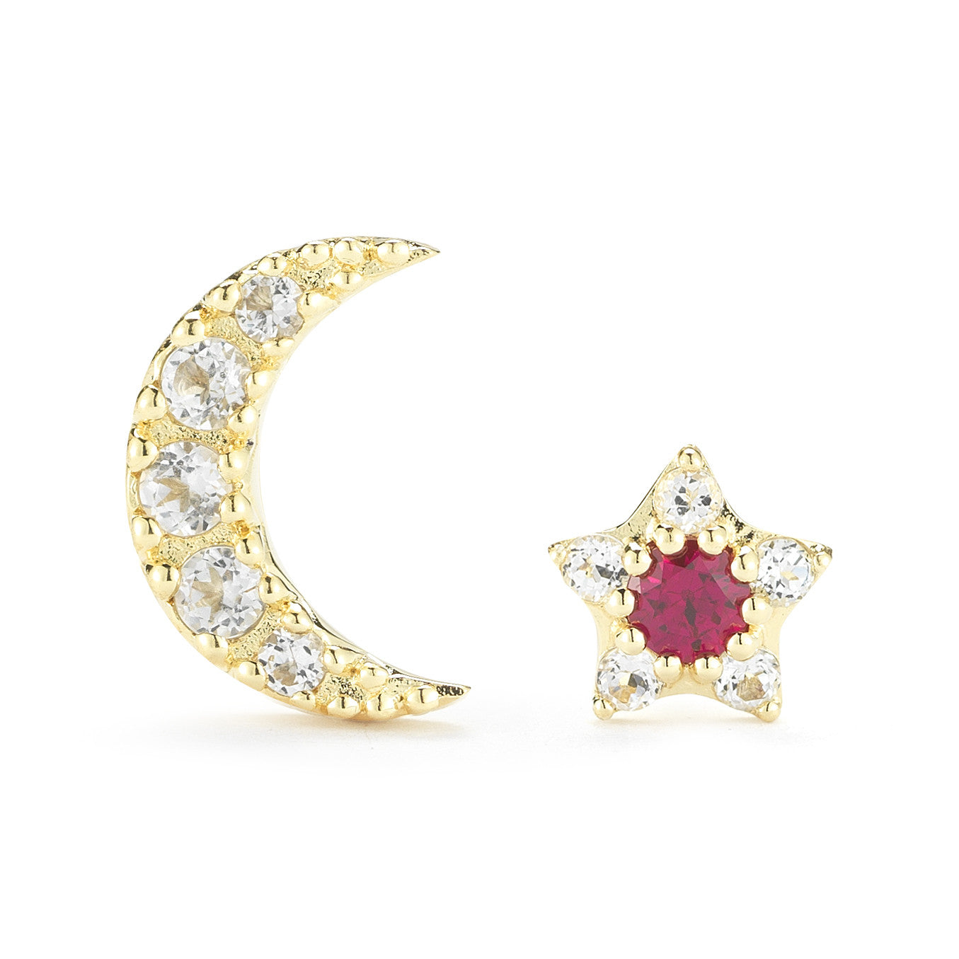 ELIZABETH AND JAMES - GOLD RUBY NOVA STUDS