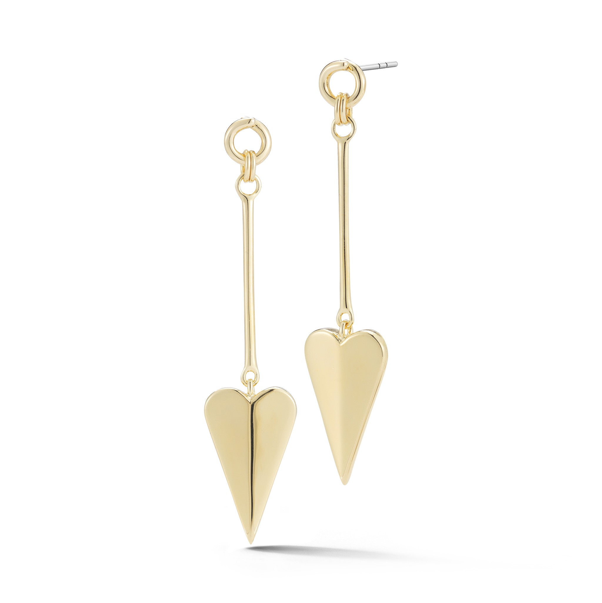 ELIZABETH AND JAMES - GOLD HEART DROP EARRINGS