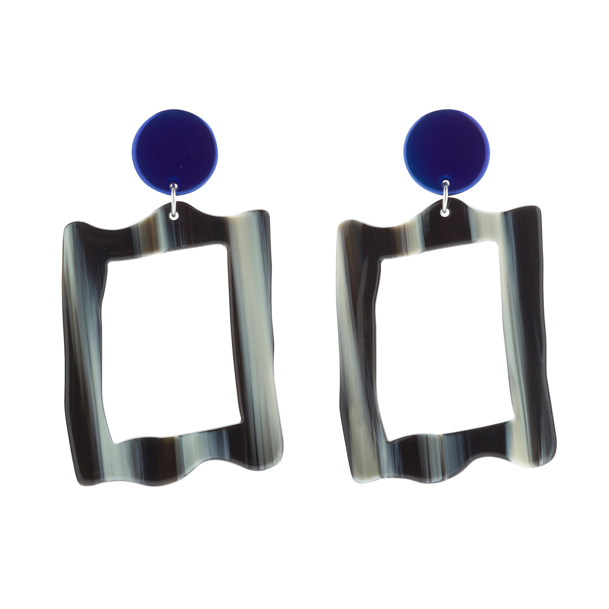 BIANCA MAVRICK - AZURE BAROQUE FRAME EARRINGS