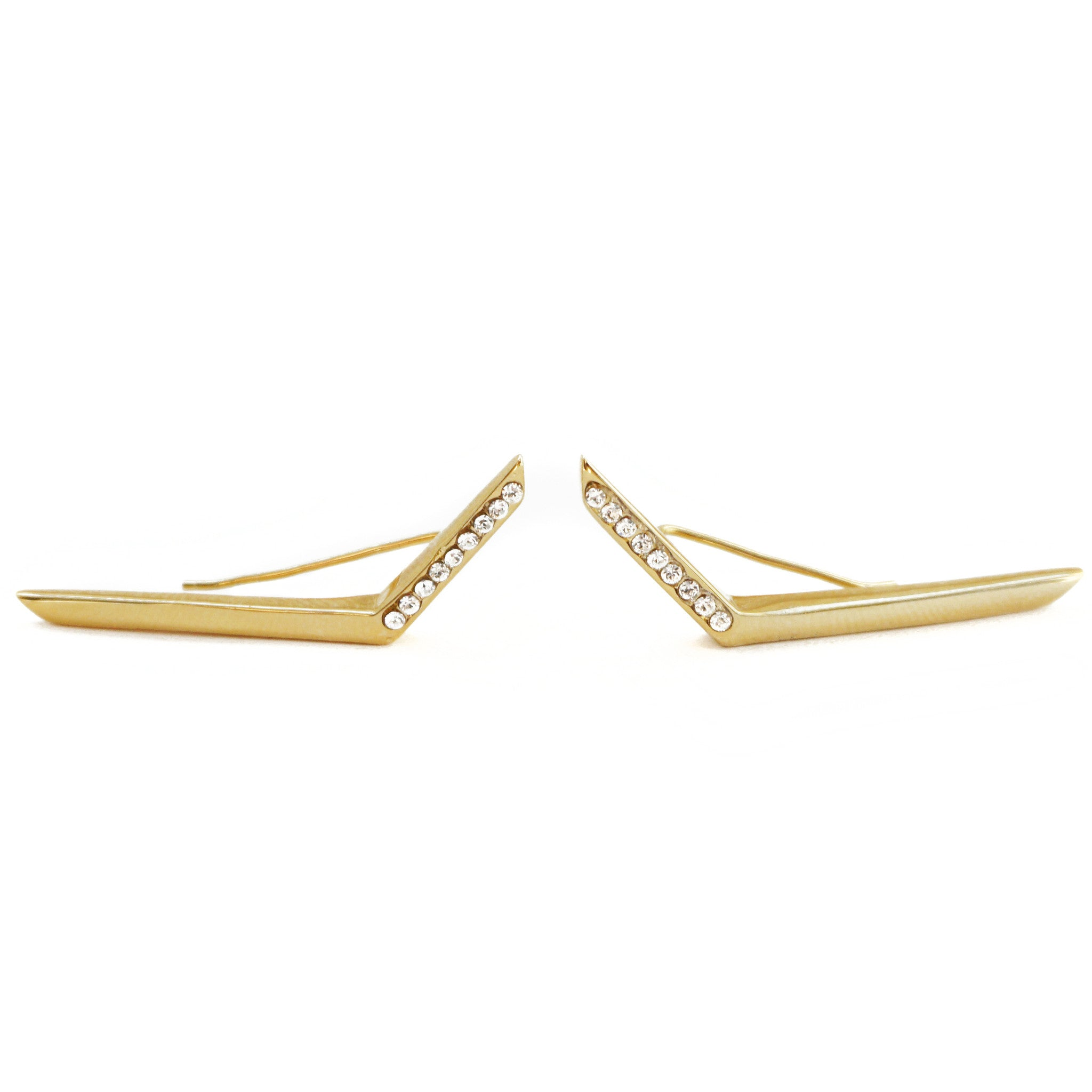 CAROLYN COLBY - GOLD LIGHTNING PAVE EAR CRAWLERS