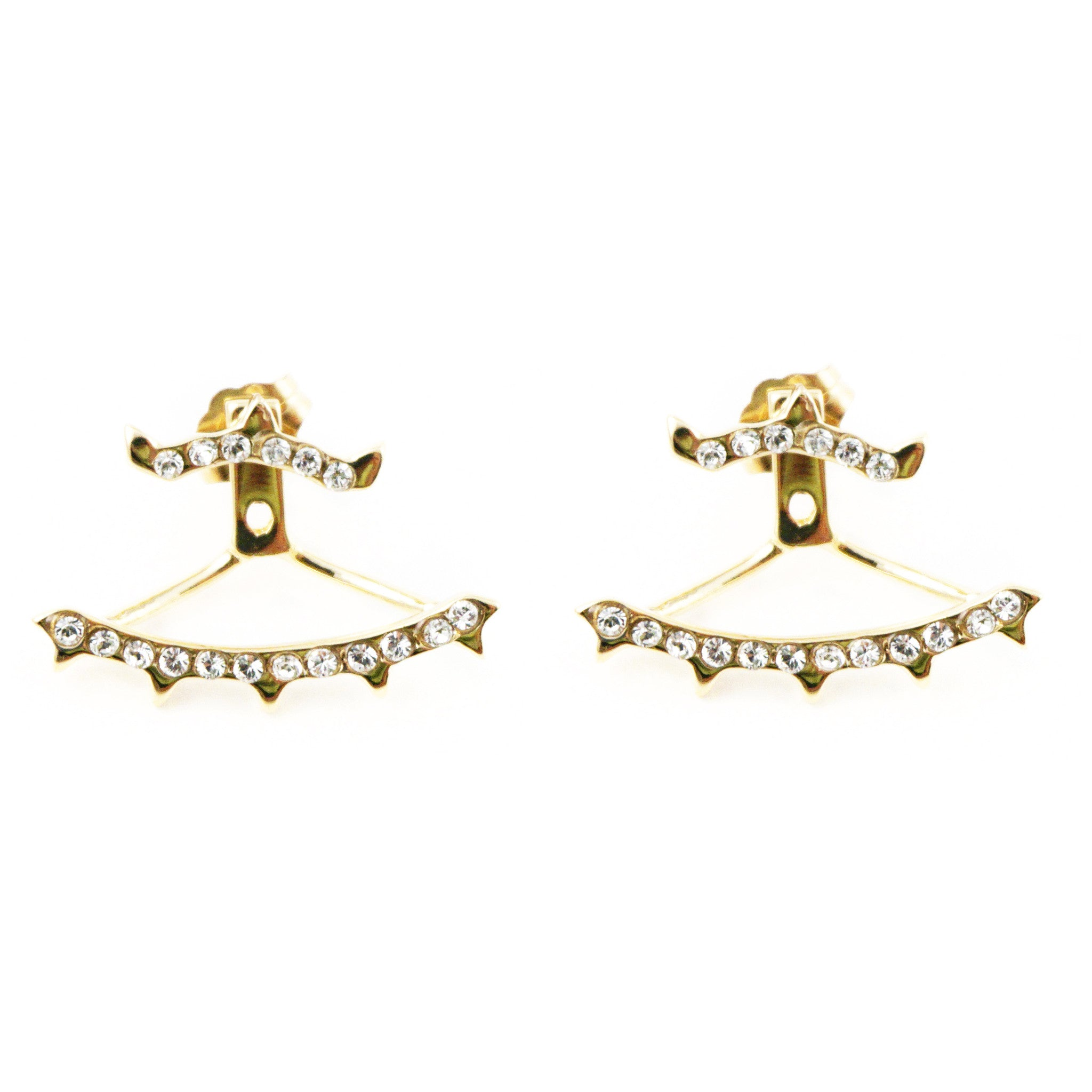 CAROLYN COLBY - GOLD CRYSTAL MINI SPIKE EAR JACKETS