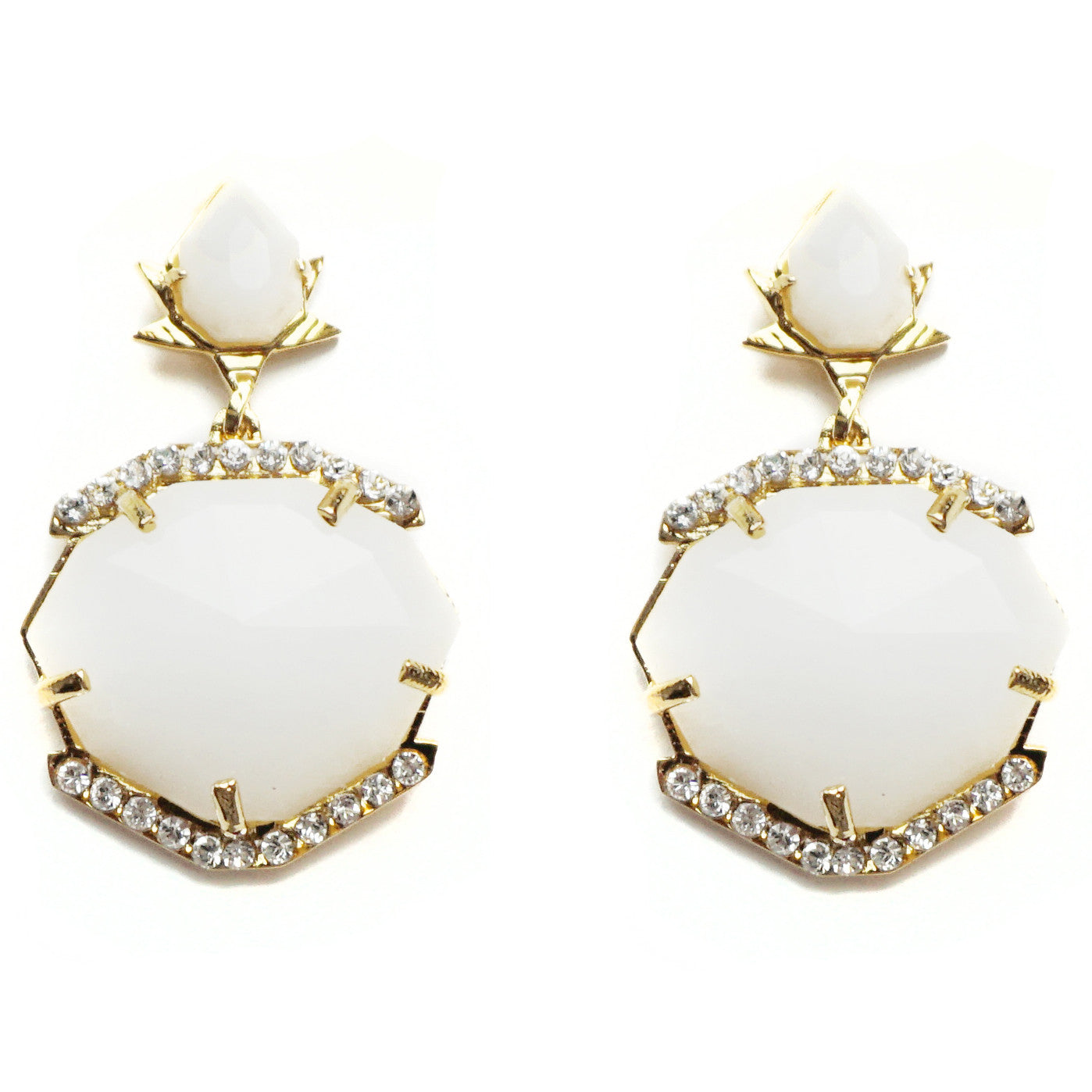 CAROLYN COLBY - WHITE AVENTURINE DOUBLE GEM DROP EARRINGS