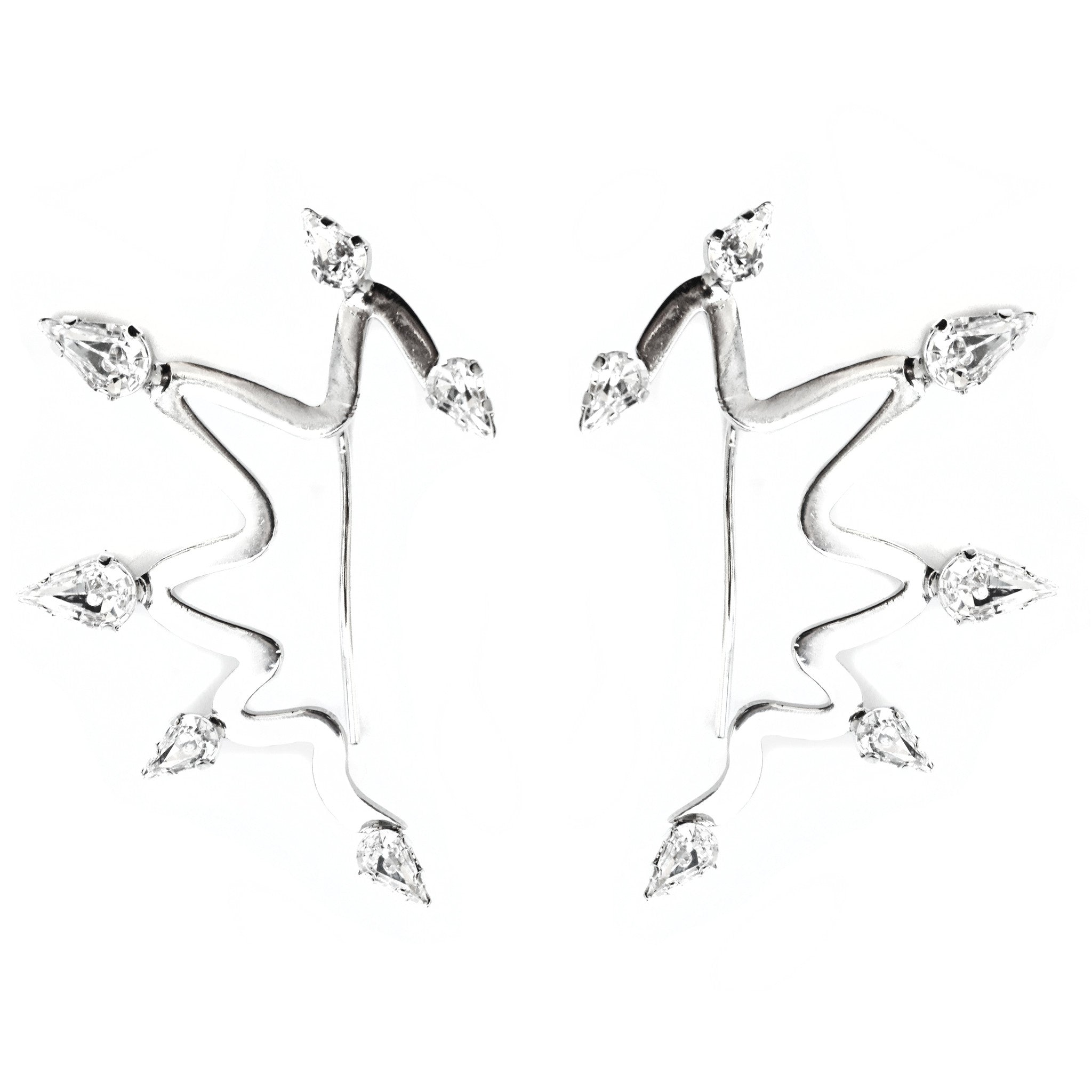 CAROLYN COLBY - SILVER CRYSTAL ZIG-ZAG SPIKE EARRINGS