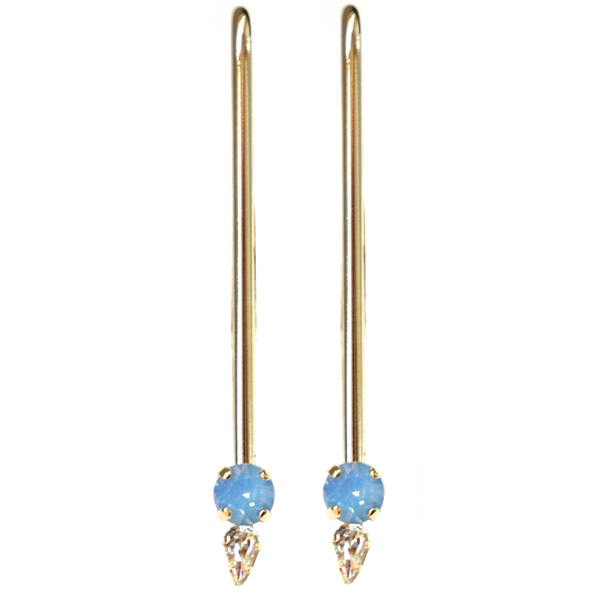 CAROLYN COLBY - GOLD GEM DROP LONG EARRINGS