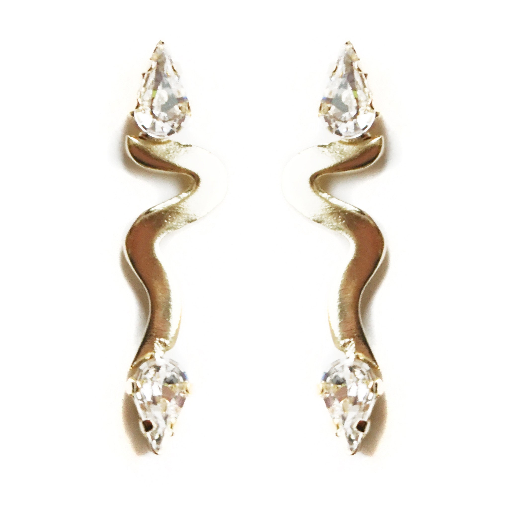 CAROLYN COLBY - GOLD ZIG-ZAG EARRINGS WITH GEMS
