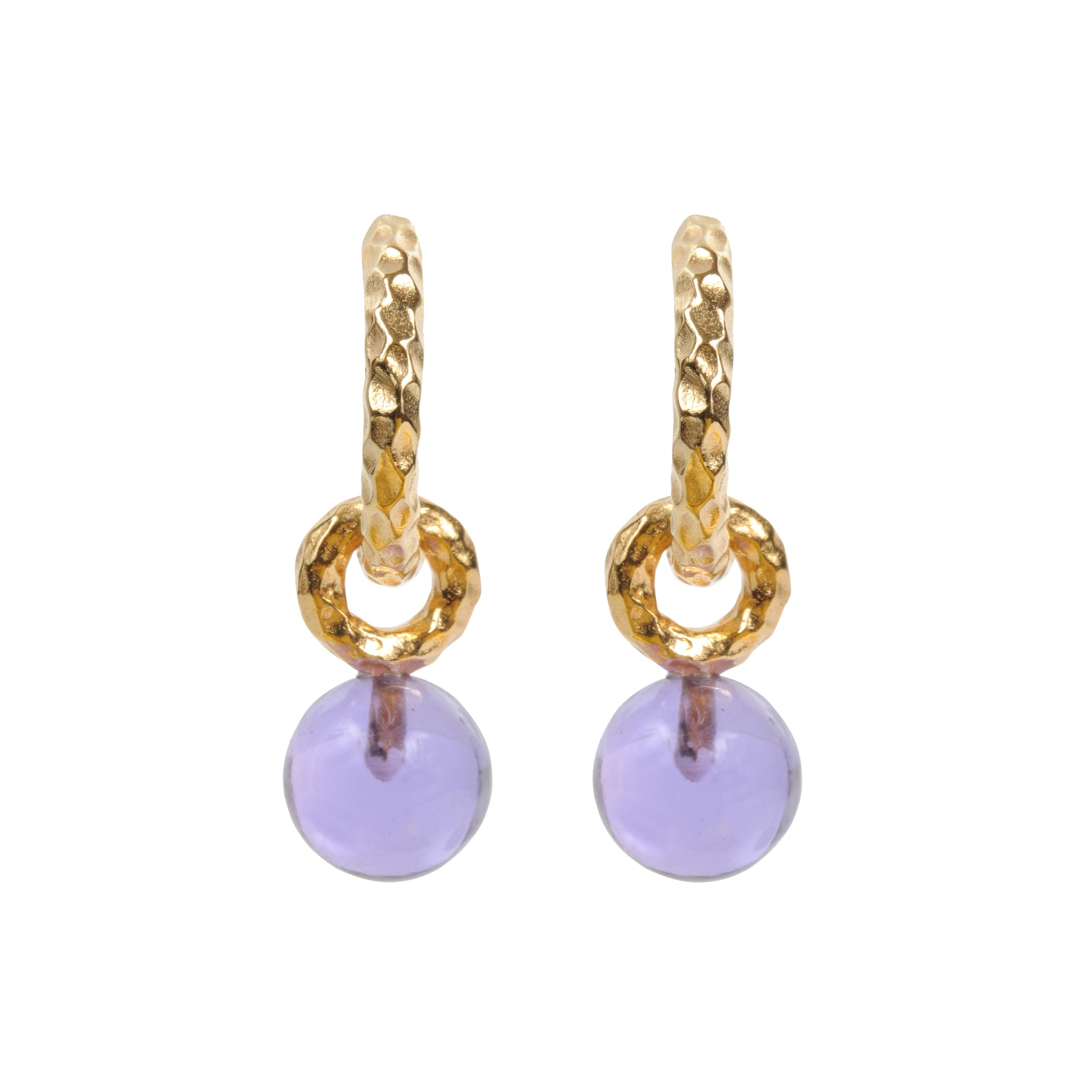 DAVINA COMBE - HUGGIE HOOPS AND AMETHYST PENDANTS