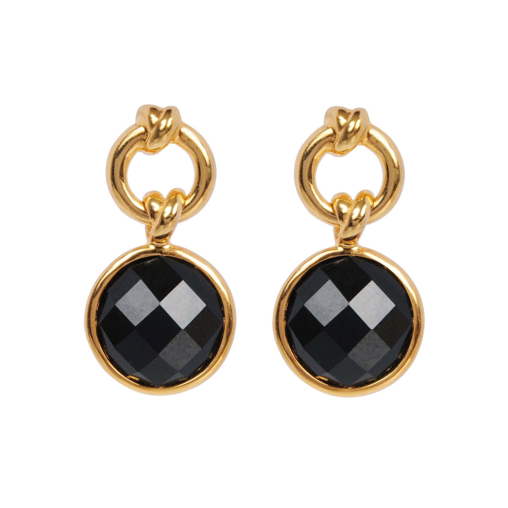 DAVINA COMBE - KNOT DROP EARRINGS WITH BLACK ONYX