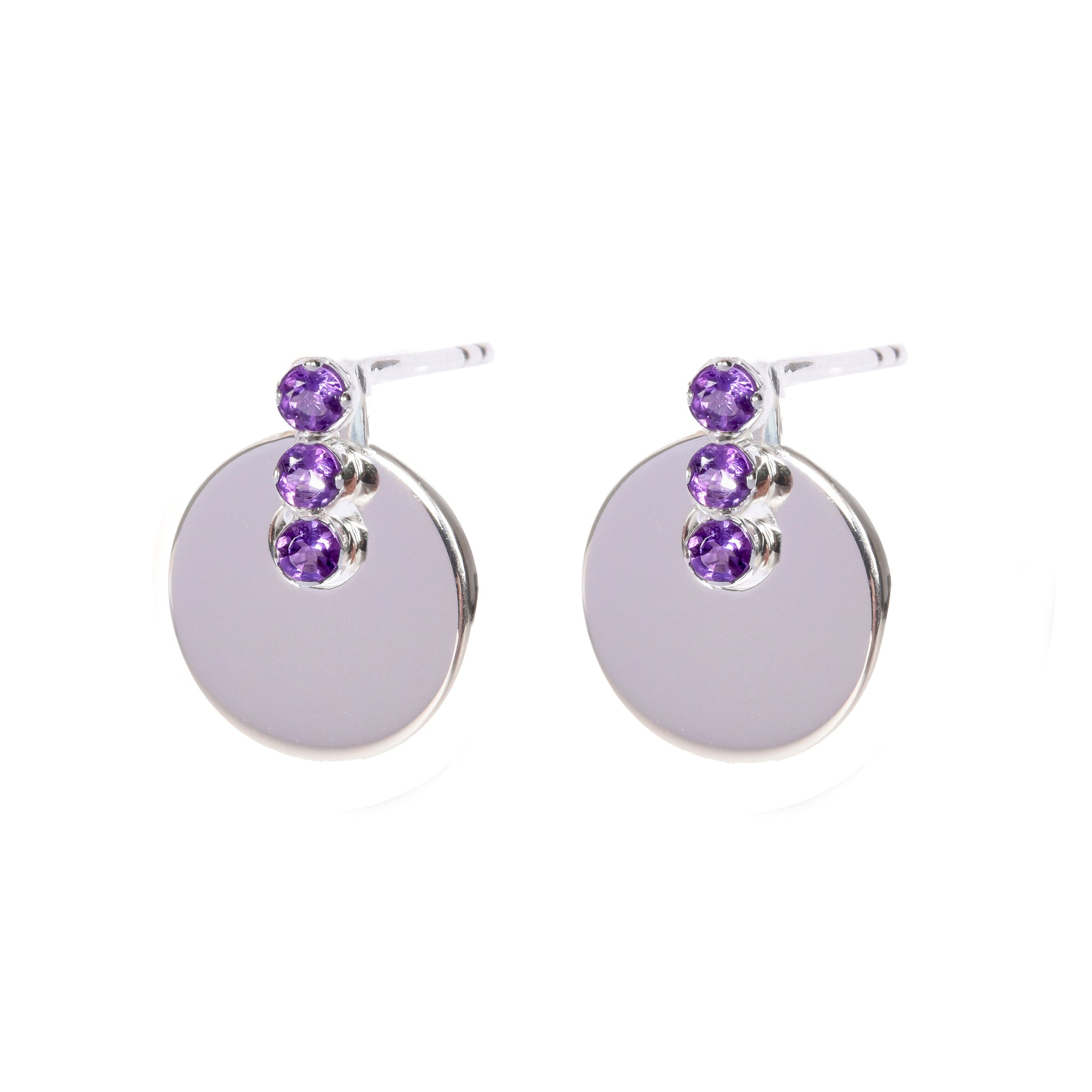 DAVINA COMBE - AMETHYST SIENNA DISC EARRINGS