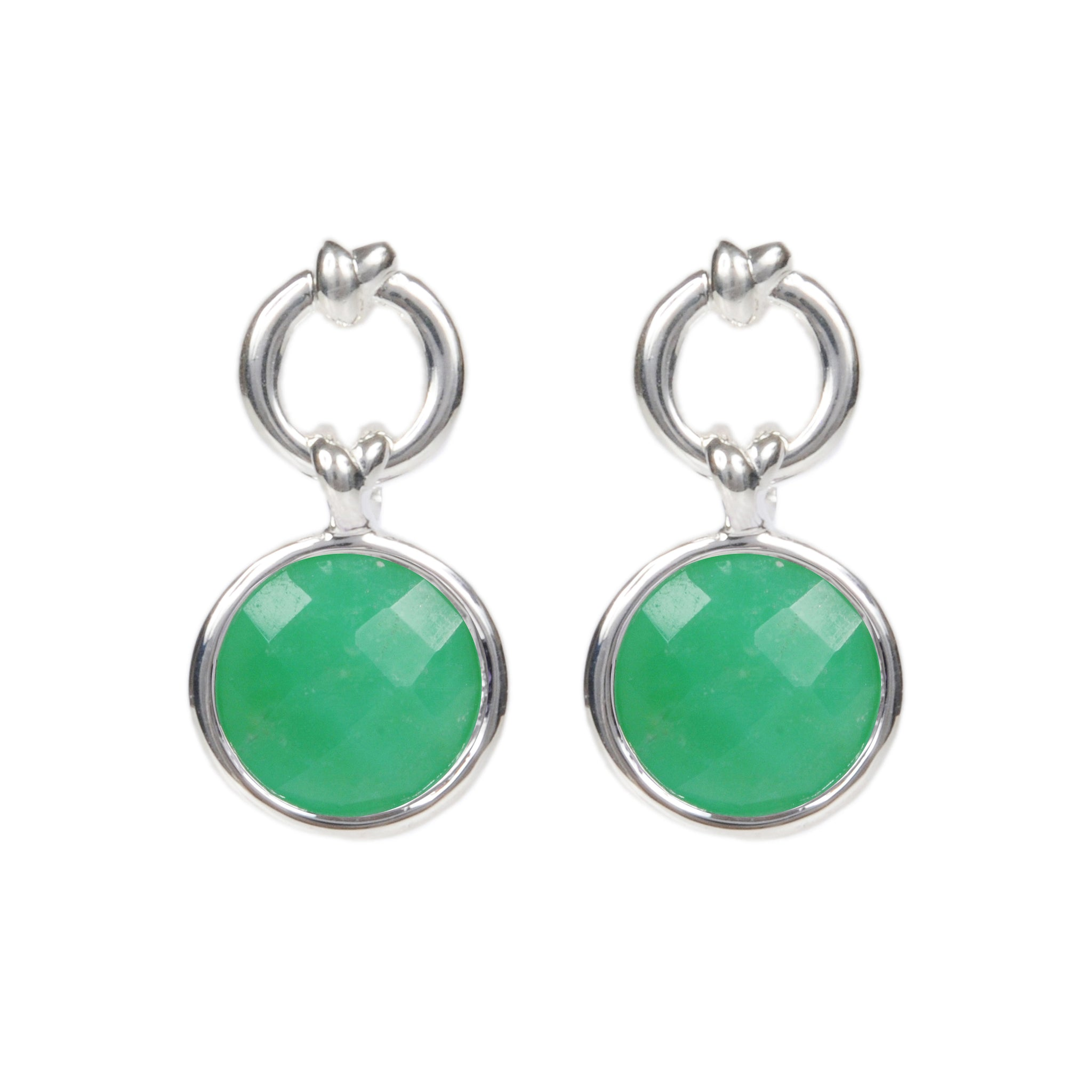 DAVINA COMBE - KNOT DROP EARRINGS WITH CHRYSOPRASE