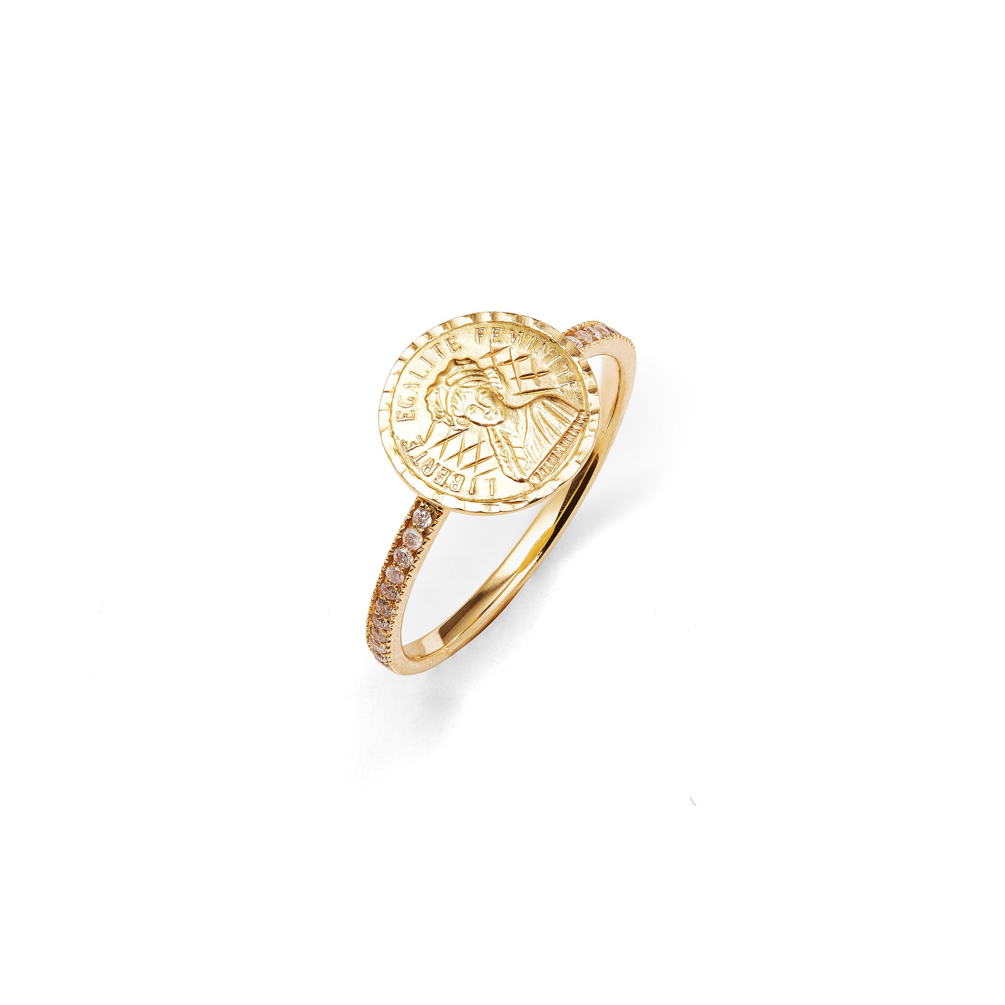 ANISSA KERMICHE - LOUISE D'OR PAVE COIN RING